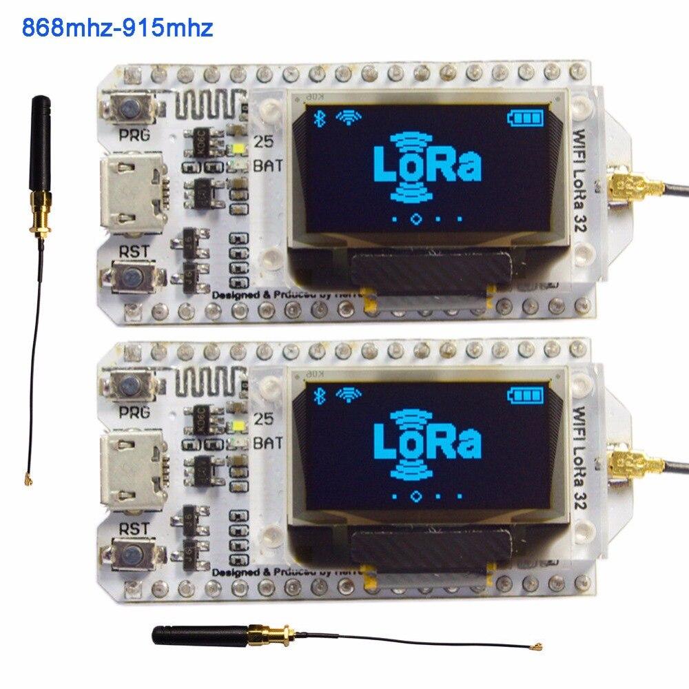 2 pcs 868 mhz-915 mhz SX1276 ESP32 LoRa 0.96 pouce Bleu OLED Affichage Bluetooth WIFI Lora Kit 32 module IOT Conseil de Développement