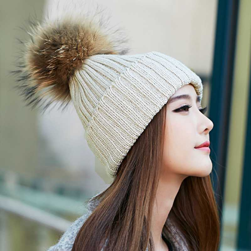 17 Candy Colors Teen Girls Beanie Winter Women Hats Acrylic Wool Knitted  Large Raccoon 16 Fur Pom Pom Hat Apparel Casual Cap 96d1773d34d
