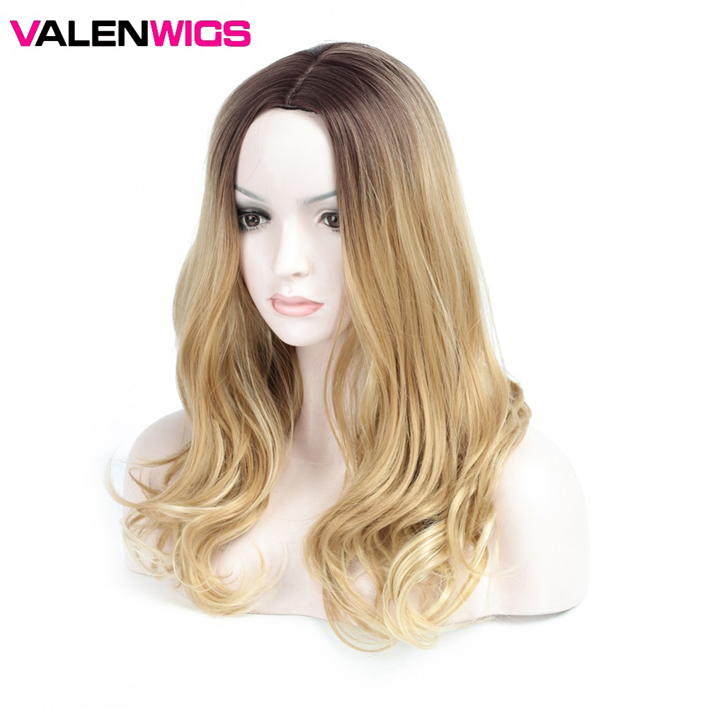 Valenwigs Ombre Brown Long Synthetic wigs High Temperature Fiber 24 60cm For White/Black Women Body Wavy Cosplay Hair wig
