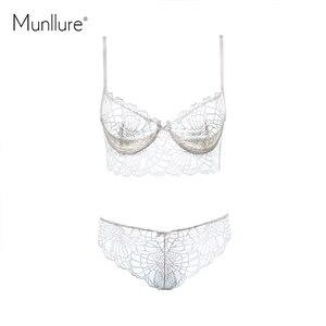 Image 4 - Munllure głębokie V przezroczysta bielizna urok koronki winorośli dekoracyjny wzór seksowny uroczy ultra cienki biustonosz zestaw