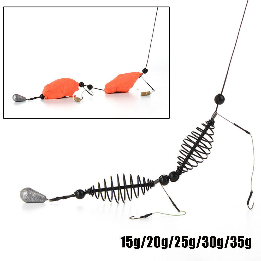 1pcs High Carbon Steel Fishing Bait Cage Two Hooks 15g-35g Carp Trap Basket Feeder Holder Bait Cage Fishing Accessories Soft And Light