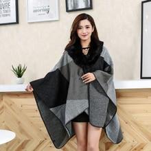 Women Winter Poncho Capes Coat Cardigan Thicken Cashmere Fur Collar Cloak Warm Plaid Wool Shawl Coat Tassel