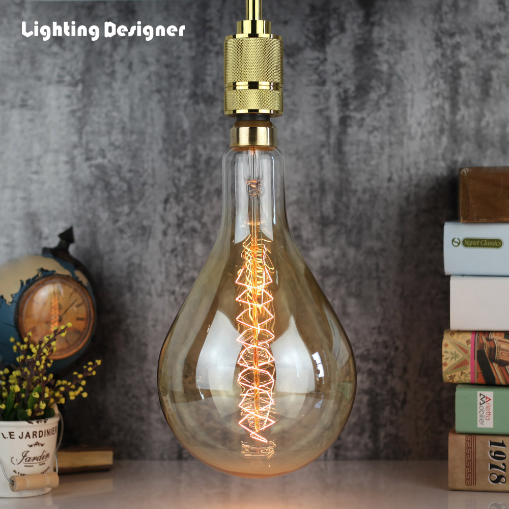 Big size PS52 A160 vintage edison light bulb incandescent decorative bulb E27 220V 60W Filament antique retro Edison lamp lumiparty antique light bulb classical edison bulb e27 8w filament tubular nostalgic filament incandescent home lamp