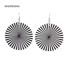 WHOMEWHo 60cm Africa Nature Wood Black White Stripes Flowers Earrings Vintage Party African Afro Jewelry Wooden DIY Club Gift