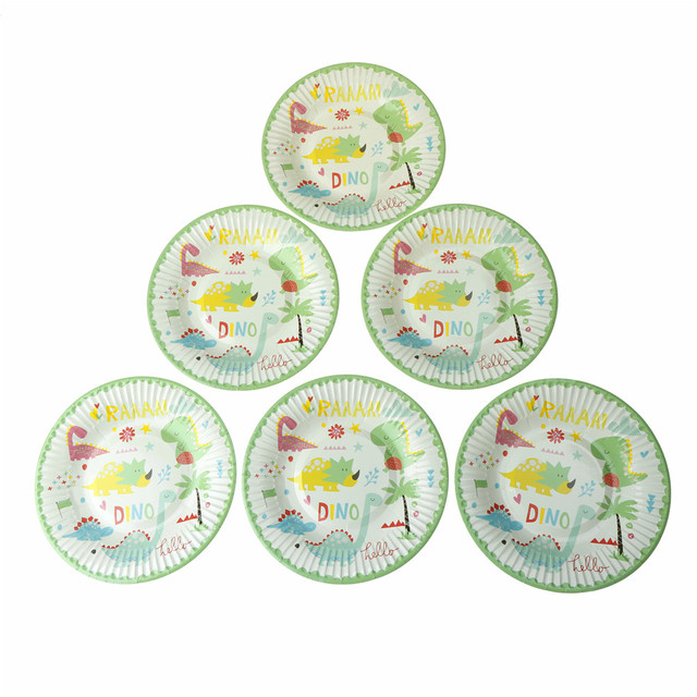 6PCS 18CM Dinosaur Theme Disposable Tableware Paper Plate Dishes Party Supplies White Cardboard With Food Film  sc 1 st  AliExpress.com : dinosaur dinnerware - pezcame.com