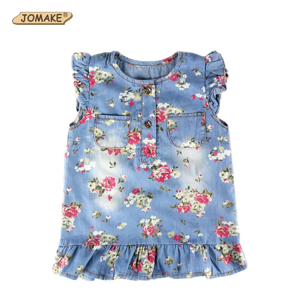 2018 платье для девочек принцессы Летний стиль костюм для детей Одежда Цветочный плиссированные Джинсовое платье для малышей для девочек Сим...