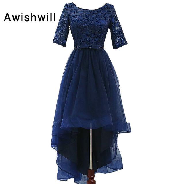 Vestido corto adelante y largo atras azul