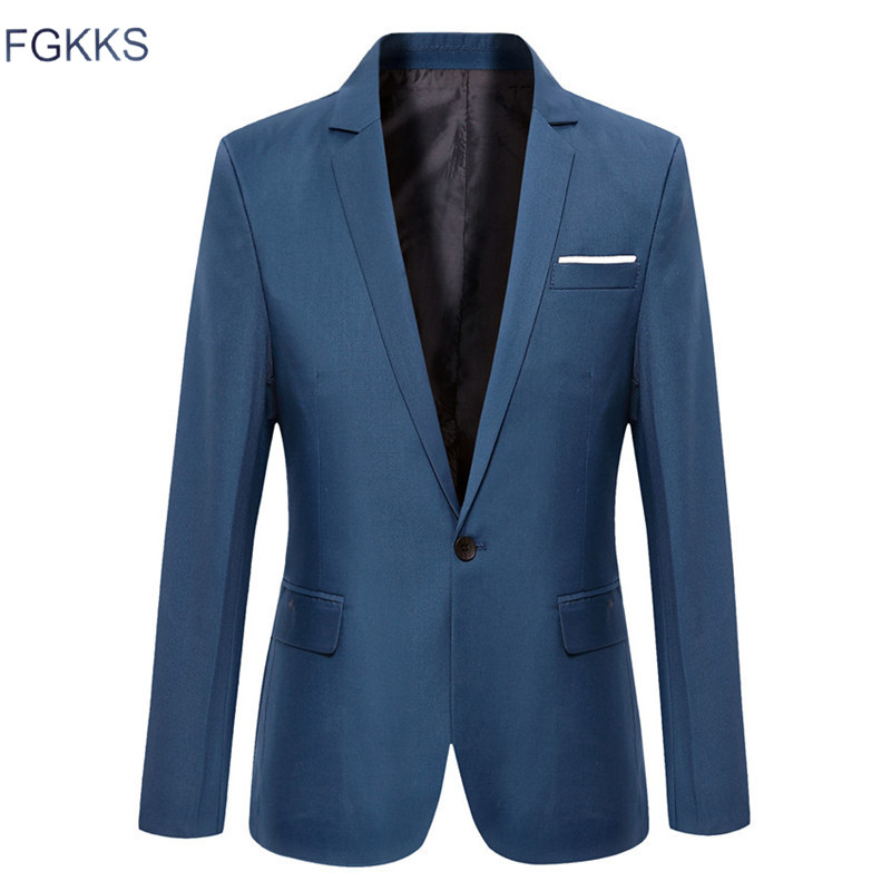 FGKKS 2018 Casual Solid Color Blazer Classic Mens Suit Jackets Coats