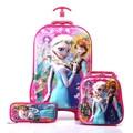 Elsa Anna 3D Rolling Luggage+School Bag Set/Girls Princess Sister Travel Trolley Bag+Pencil Case Suit/Cartoon Design Suitcase