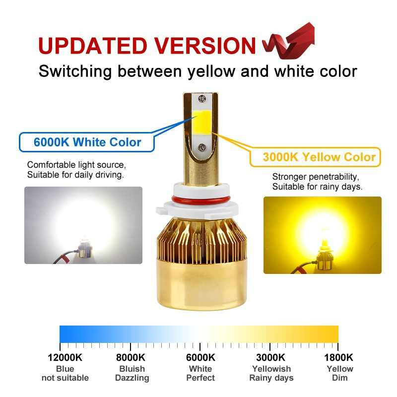 2PC Car LED Headlight H4 LED H7 LED H11 Bulb 3000K 6000K 4800LM H1 H3 H8 9005 HB3 9006 HB4 H27 LED Dual Color Yellow White Light