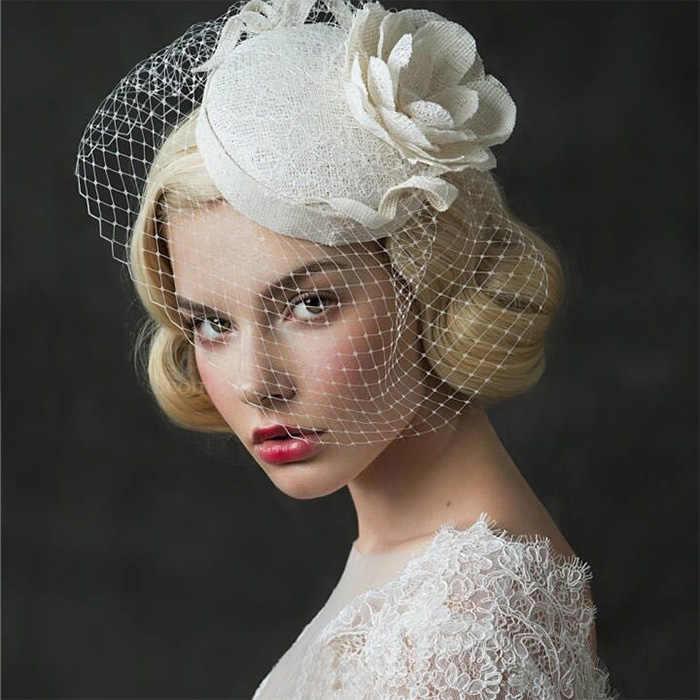 324fcb409fadc ... Vintage Wedding Bridal Hair Accessories Flower Tulle Birdcage Veil  Headpiece Head Veil 2016 Cheap Mini Wedding ...