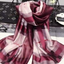 Fashion Plaid Silk Scarf Luxury Women Brand Scarves for Women Shawl High Quality hijab wrap 70.87X35.43 INCH