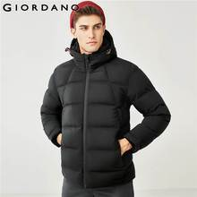 Giordano Men Down Jacket Men Seamless Design Hooded 90% Grey Duck Down