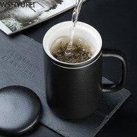 Индивидуальная керамическая чайная чашка с крышкой фильтр креативная чайная чашка для офиса Портативный чайный набор бытовой Питьевая утв...