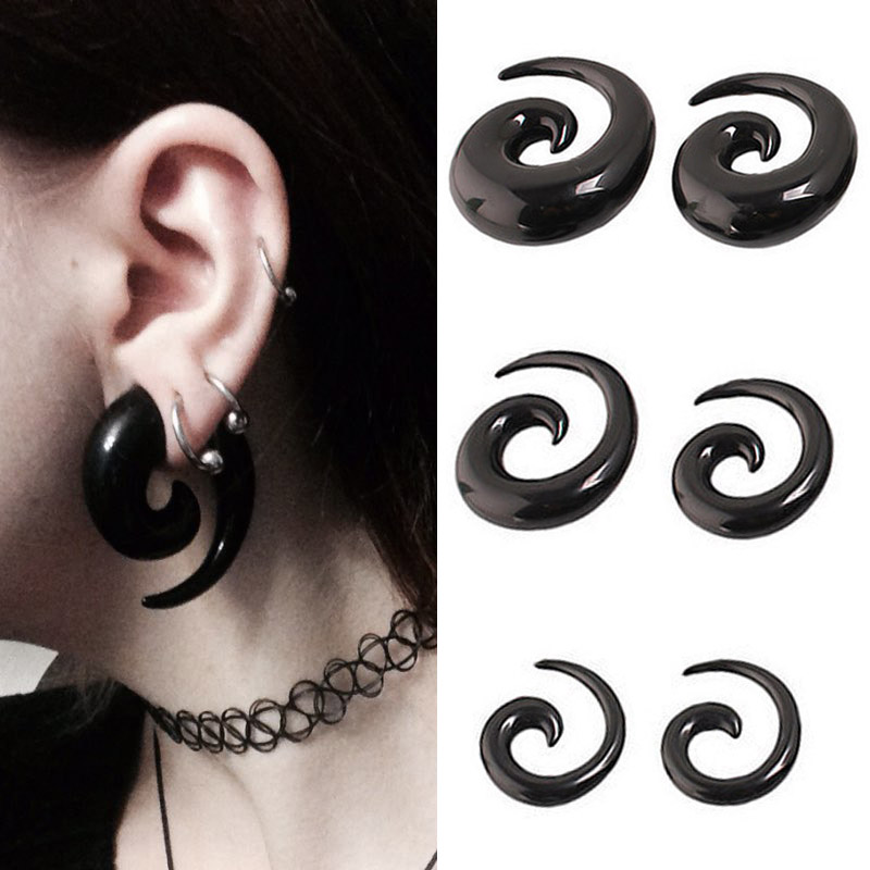 2pcs Acrylic Spiral Taper Tunnel Ear Stretcher Plugs Expanders Body Pircing Jewelry Black Drop Ship ear plugs flesh tunnel wrench