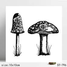 Mushroom hut Transparent silicone Stamp for DIY Scrapbooking/Photo Album Decorative Card Making Clear Stamps Supplies