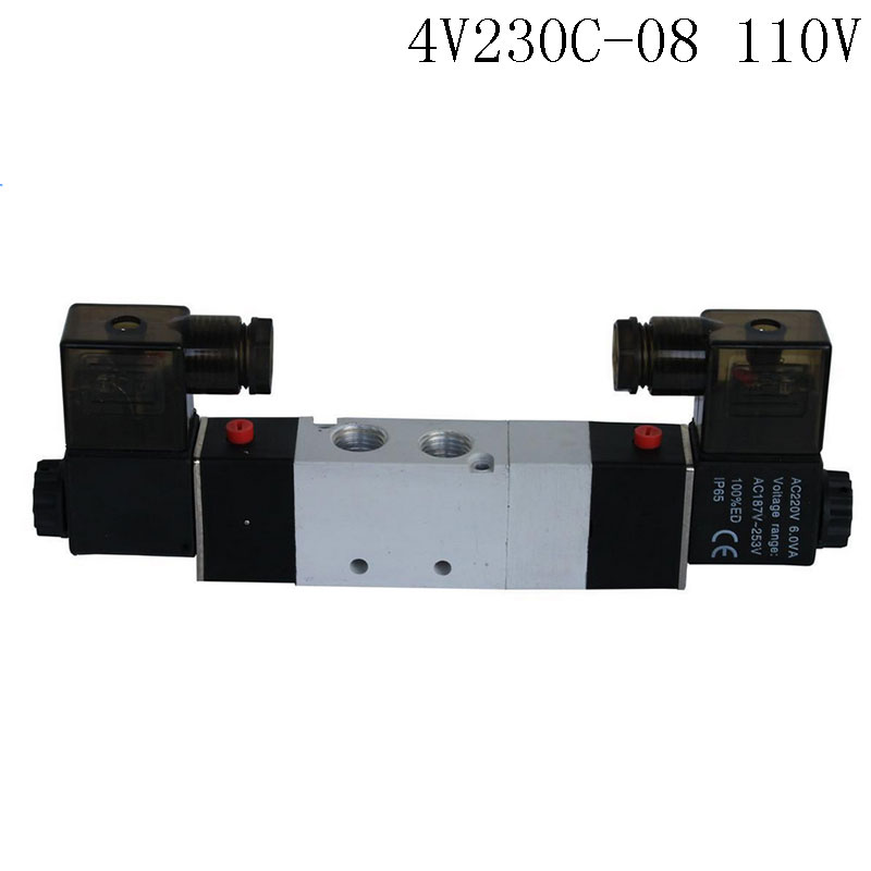 Pnematic Solenoid Valve 5/3 5 Way 3 Position 1/4 BSP 4V230C-08 Double Coil Center Closed LED Light  AC110v free shipping air solenoid valve 4v330c 10 double coil 3 8 bsp ac110v 5 3 way control valve plug type with red indicator light