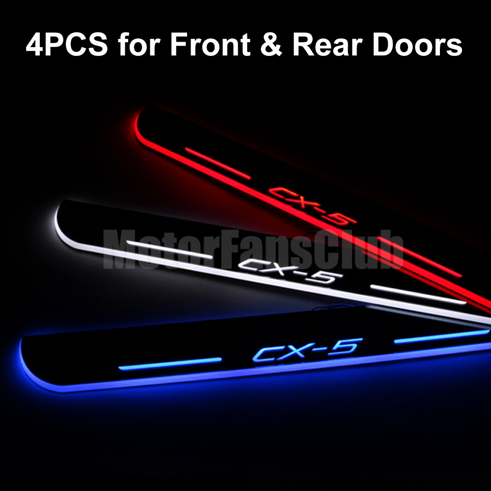 Waterproof Ultrathin Acrylic LED Welcome Scuff Plate Pedal Door Sill For Mazda CX-5 2013 2014 2015
