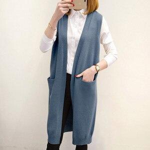 Image 2 - Camisola longa colete feminino tricô cardigan colete senhora 2019 novo outono inverno coreano solto gilet sólido sem mangas jaqueta