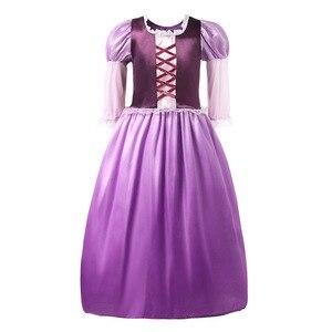 Image 2 - YOFEEL Disfraz de princesa Rapunzl para niña, disfraz de princesa, ropa de niña, Vestido de manga de pétalos enredados, vestido de fiesta de Halloween de verano