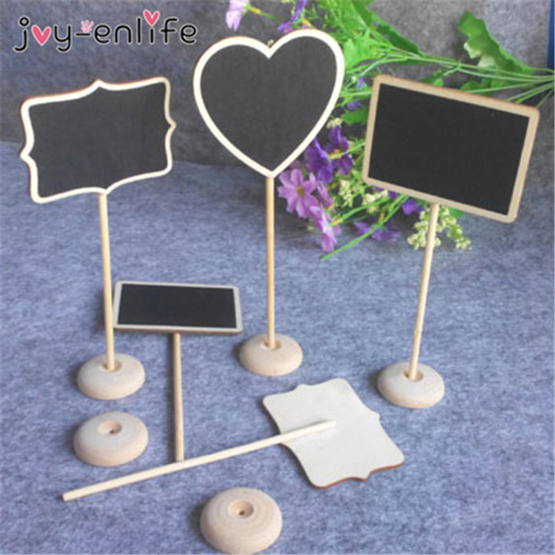 JOY-ENLIFE 10pcs 3 Styles Mini Wooden Chalkboard Wood Blackboard Table Message Number Tag Place Card Holder Wedding Decor