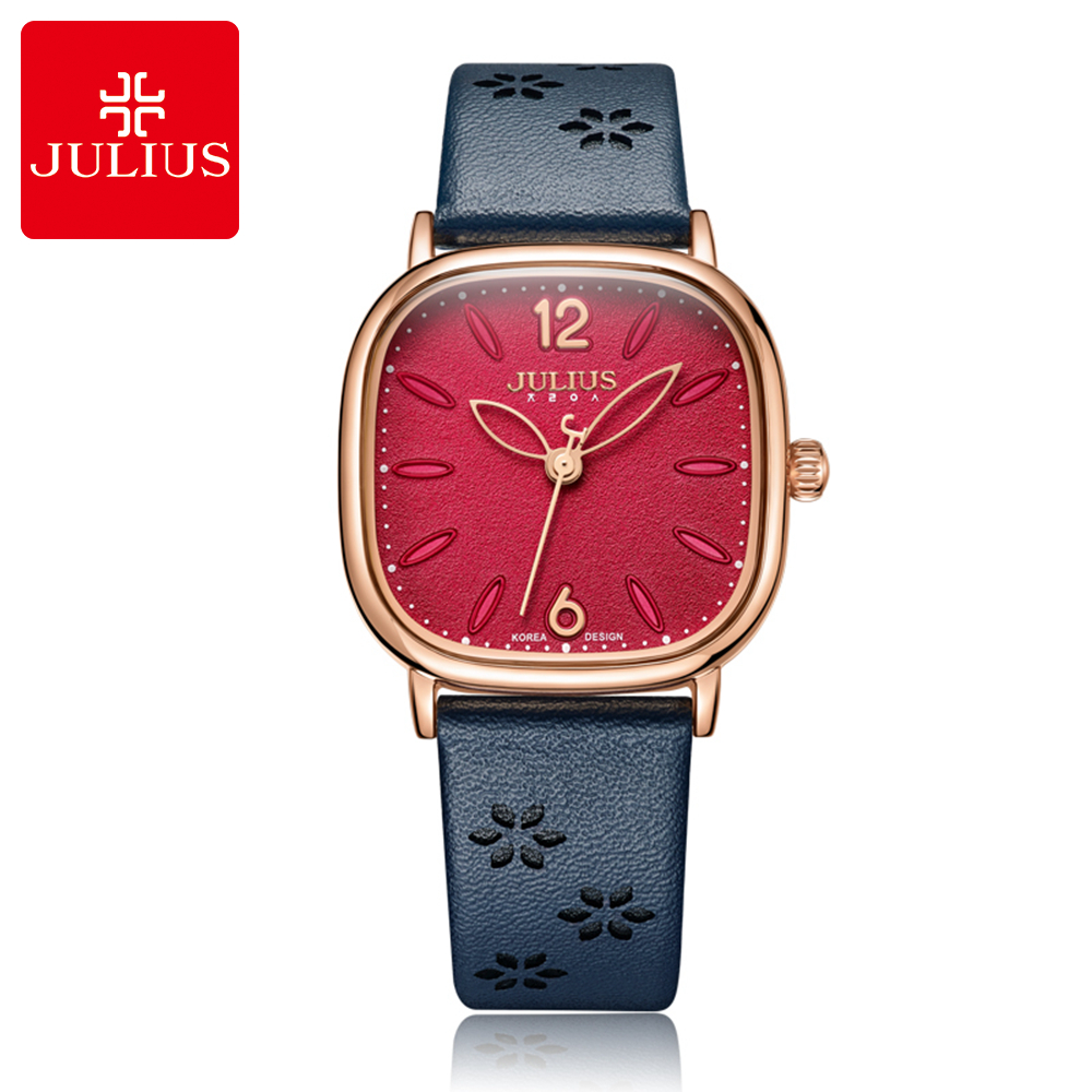 Beautiful Flower Petal Good Quality Lady Leather Quartz Watch Attractive Birthday Present Women Favorite Popular Julius Clocks attractive splicing strapless flower embroidery women s corset