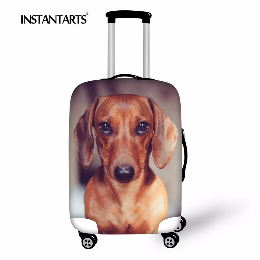 INSTANTARTS Cute Dachshund Dog Print Travel School Suitcase Luggage Protective Cover Travel Trolley Case Bag Cover For 18-30inch