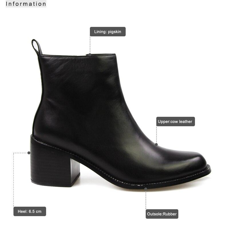ISNOM 2018 nuevos tacones cuadrados zapatos tobillo botas de cuero Real mujer botas de invierno superestrella Chelsea botas cremallera calzado femenino-in Botas hasta el tobillo from zapatos    3