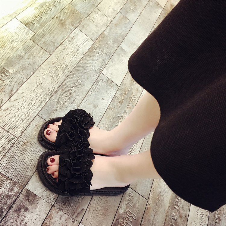 XK Summer new sweet flowers flat word slippers women casual wear non-slip flat with beach shoes