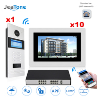 7'' Touch Screen WIFI IP Video Door Phone Intercom +POE Switch 10 Floors Building Access Control System Support Password/IC Card