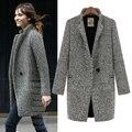 2016 mulheres outono e inverno de médio-longo plus size houndstooth solto terno de lã de lã outerwear casaco de lã
