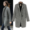 2016 women autumn and winter  medium-long plus size loose houndstooth woolen suit wool outerwear wool coat