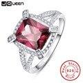 Clase premier jqueen espesartita granate 5ct 925 anillo de plata esterlina s925 aaa de la joyería de plata de talla esmeralda anillo de compromiso sz 6-9
