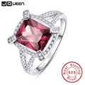 Premiere classe jqueen 5ct spessartine garnet 925 anel de prata esterlina anel de noivado emerald cut s925 prata aaa jóias sz 6-9