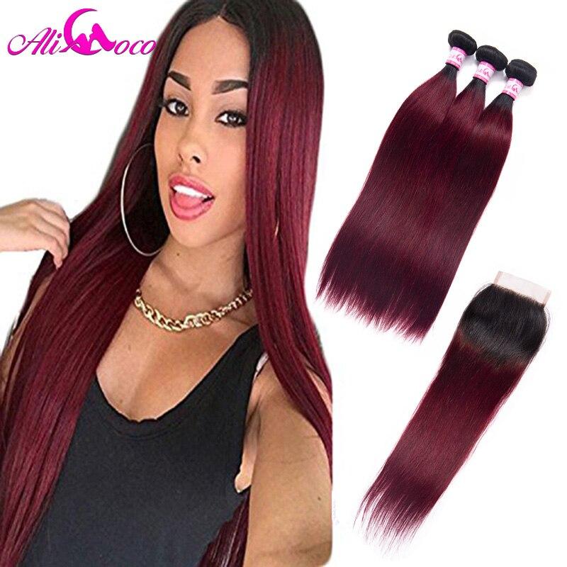 Али Коко Ombre прямые волосы 3 Связки с закрытием 1B/99J бордовый цвет красного вина бразильский прямо натуральные волосы 2 Цвет Волосы remy