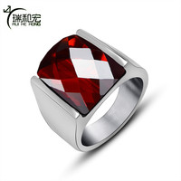 Polishing Titanium Steel Rings With Geometric Cutting Red And Black Semi Precious Stone Ring Male Vintage