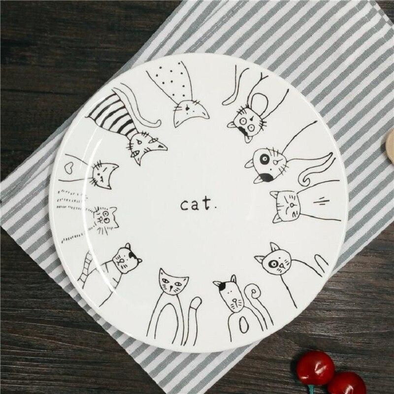 Dinner Plates Cartoon Cat Ceramic Plates 8 Inch Dinnerware