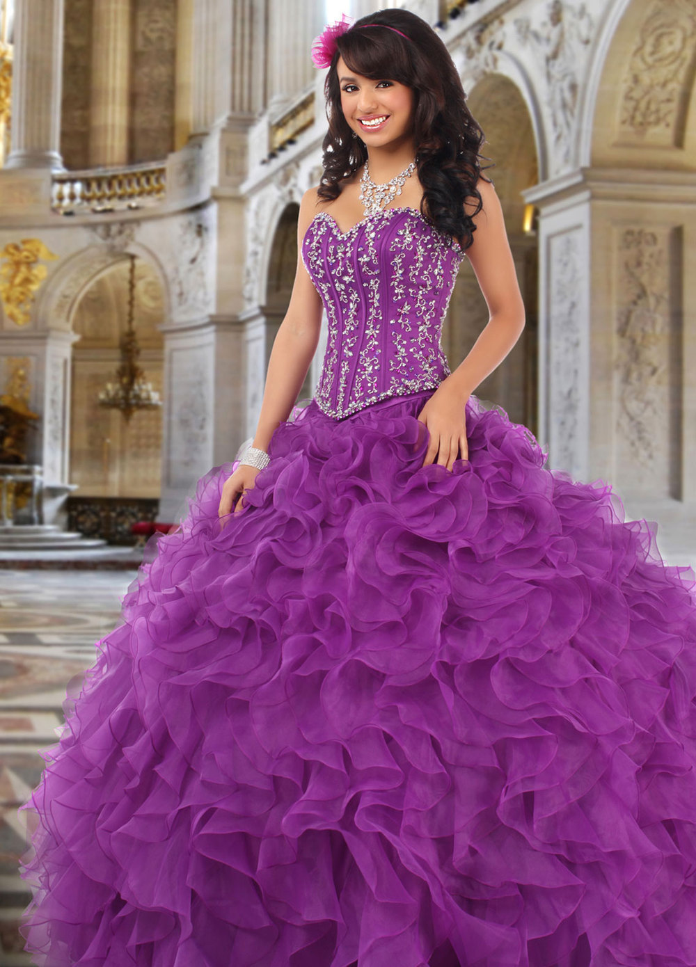 Puffy Gown Ball Sweetheart Organza Lace Beaded Quinceanera Dress Purple vestidos de 15 anos