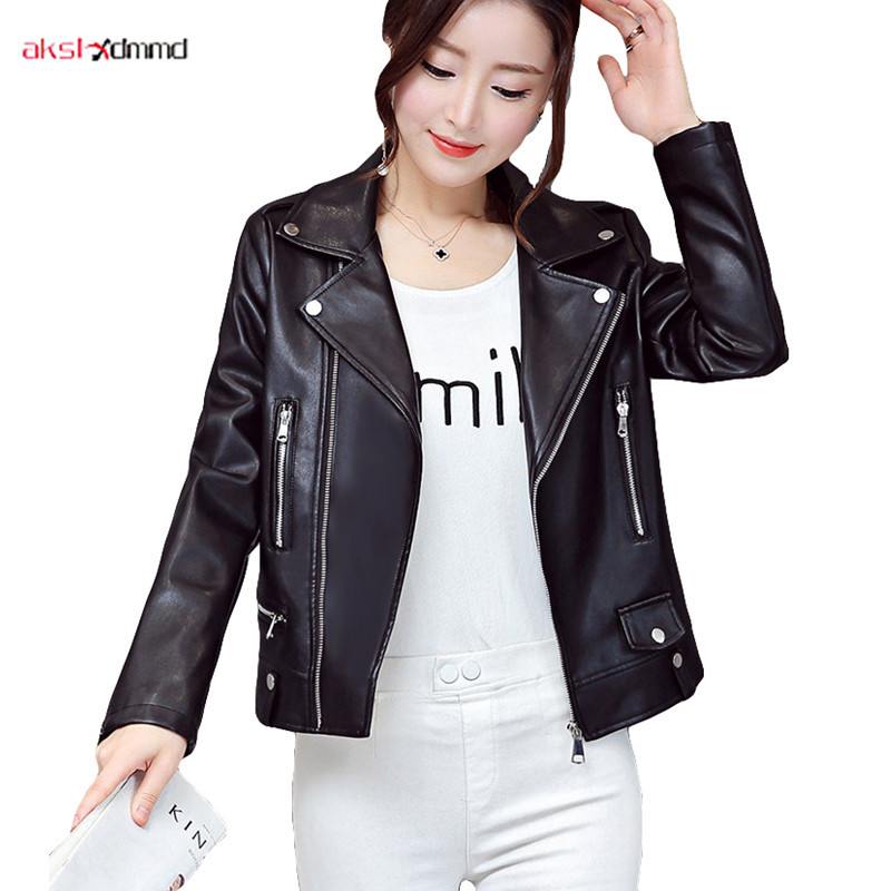 2019 New Women   Leather   Jacket PU Plus Size Cool Short   Leather   Coat Slim Female Black Autumn Fur Clothing Jaqueta Couro AC005