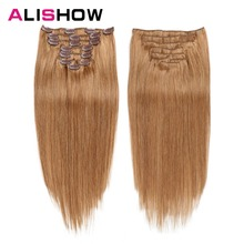 Alishow Clip In Human Hair Extensions Straight Full Head Set 7pcs 100g Machine Made Remy 100% Extension