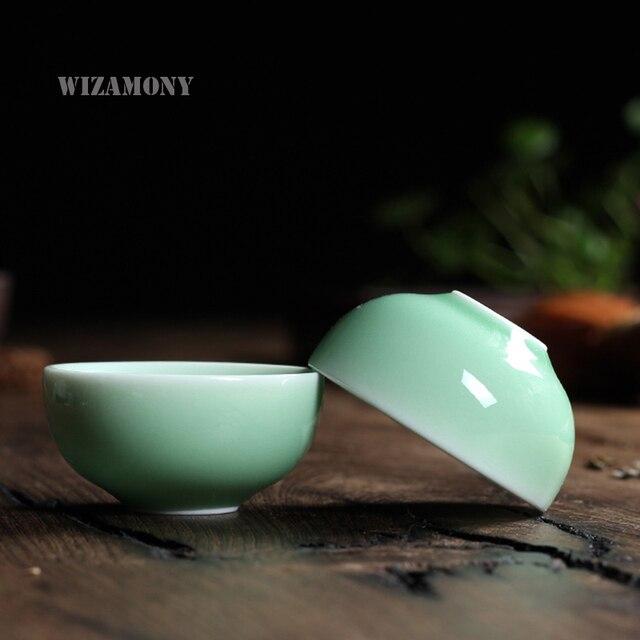 1pcsBrother Kiln Chinese Longquan Celadon Porcelain Kung Fu Teacup and Saucer Tea Bowl 35ml China Transparent Tea Pot Coffee Cup