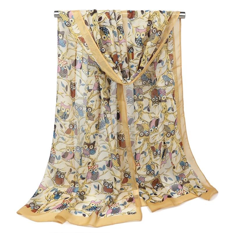 Fashion wanita baru burung hantu hewan syal cetak syal sifon lembut panjang syal tipis, 160 * 50 cm wanita saputangan membungkus pengiriman gratis
