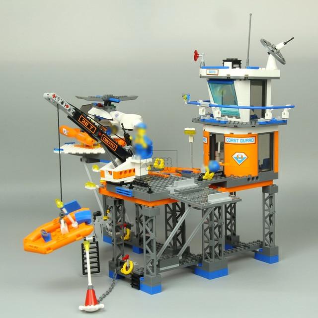 492pcs Lepin 02070 Compatible with Lego 4210 City Deep Sea Drilling Coast Guard Boat Helicopter Building Blocks PLATFORM Bricks 2