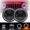 7Inch 60W Round With LED Chips LED Headlight Kit Hi Lo Angle Eyes DRL For Jeep