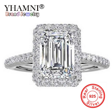 YHAMNI Fashion 100% Original Pure Silver 925 Ring Luxury Big 8mm 5A Zirconia Engagement Rings Crystal Jewelry For Women LR999