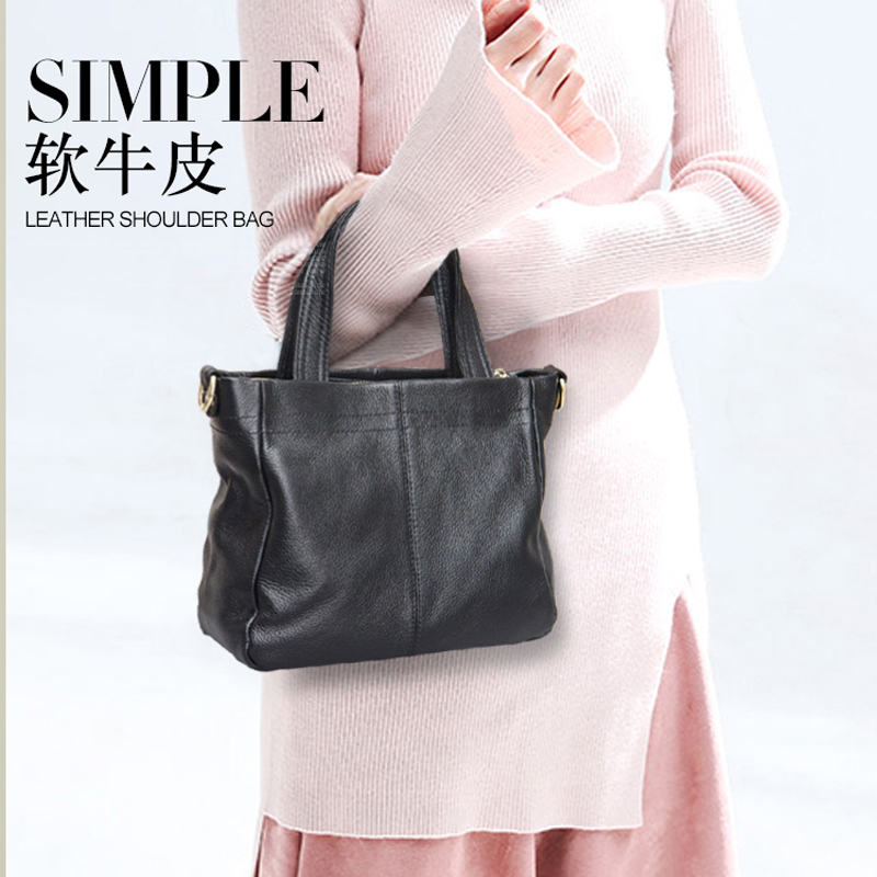 New style genuine leather handbag Messenger bag fashion simple ladies atmospheric shoulder bag High capacity zipper bag handbag