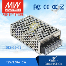 цена на Redsky [freeshipping12] MEAN WELL original NES-15-12 12V 1.3A meanwell NES-15 12V 15.6W Single Output Switching Power Supply