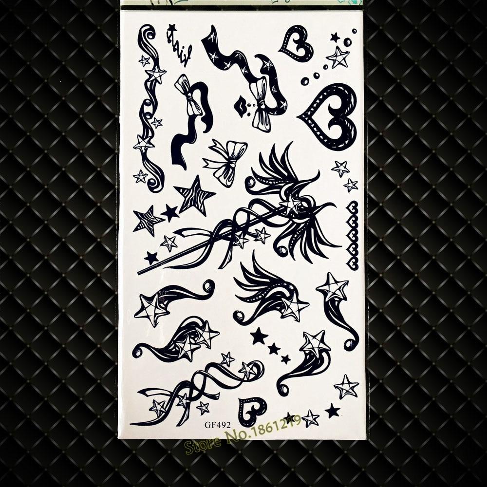 3D Черный волшебная палочка Временные татуировки c Книги по искусству Ун для детей звезд ...
