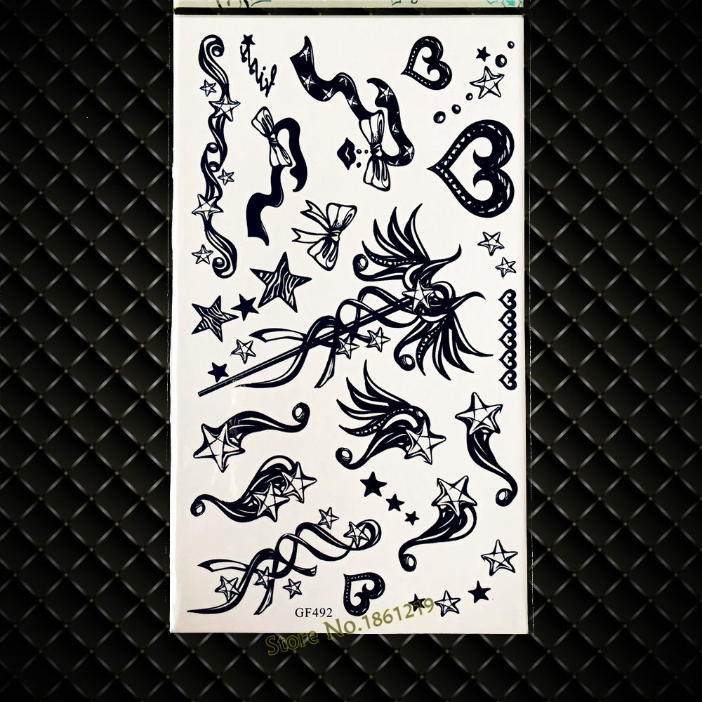3D Black Magic wand Temporary Tattoo Cartoon For Kids Star Bowknot Waterproof Tattoo Body Art ARm GGF492 Fake Flash Tattoos