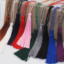 Colorful velvet thread pendant crystal tassel long sweater chain selling necklace jewelry